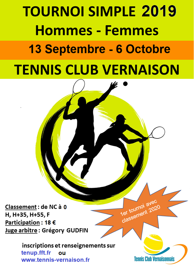 Tennis : tournoi simple homme-femme @ Terrain de tennis