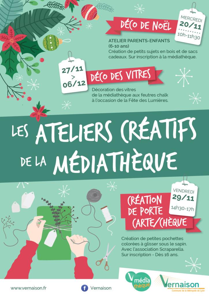 Les ateliers créatifs de la Médiathèque : Déco de Noël @ Médiathèque